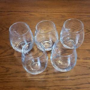 Set of five 16oz stemless wine glasses